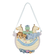 """""""Baby's First Christmas"""" Noah's Ark Ornament. Multi colored resin ornament is a perfect gift for a new baby!  Dimensions: 3.75"""" L. x 1.5"""" W. x 4"""" H."""