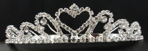 "Rhinestone Tiara measures 1.25"" x 5.5"" and is plated in Sterling Silver"