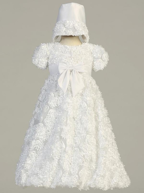 Daisy ~ A ribbon and tulle dress baptism set. Bonnet included. Made in the USA.