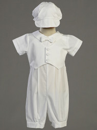 Tyler ~ Cotton Romper with Pique Vest. Sizes : 0-3m, 3-6m, 6-12m, 12-18m, 18-24m. Made In USA