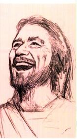 Laminated Holy Card, Smiling Jesus, Smile God Loves You