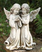 "From the Garden Collection ~ Two Angels Holding a Bird. Made of a Resin Stone mix. Dimensions: 12.25""H 10.5""W 6.5""D"
