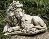 Garden Statue, Lion and Lamb 12.25""