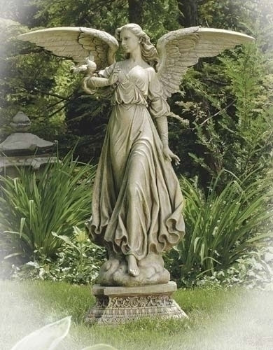 "Garden Angel Collection ~ Angel Pedestal Statue. 46.5""H 22.5""W 15""D. Stone / Resin Mix"