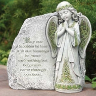 "Celtic Garden Collection. Celtic Angel Garden Stone with Irish Blessing. Dimensions: 9.75""H x 9.5""W x 3.75""D. Resin/Stone Mix"