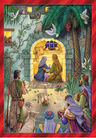 This decorative Advent calendar is perfect for families. The colorful illustration is fun and detailed and shows the shepherd and the Kings watching as Mary and Joseph welcome baby Jesus into the world. The red border makes the calendar stand out and perfect to use as a decoration. The windows that countdown the day until Christmas open to reveal a special picture and a piece of text from the bible. Learn more about the Christmas story while you countdown the days!