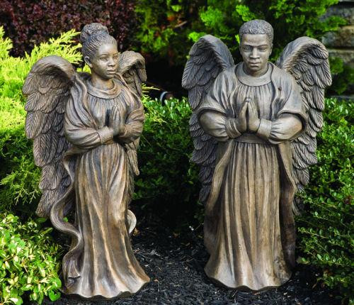 """From the Devotional Collection """"Harmony"""". African American Angel Man or Woman (each sold separately) Female Angel  ~ H: 24.75"""", W: 12.75"""", BW: 7"""" BL: 8"""", Wt: 41 lbs Male Angel  ~ H: 24.75"""", W: 14.5"""", BW: 7"""" BL: 8"""", Wt: 58 lbs Made to order...Allow 4-5 weeks for delivery. Made in the USA!  FREE SHIPPING IS NOT APPLICABLE!"""