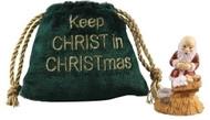 "2""H Kneeling Santa with Display in Velvet Pouch Bag. Poly/resin Material"