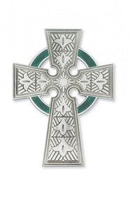 Celtic Cross, Pewter with Green Enamel 4 3/4""
