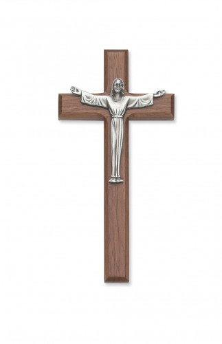 "7"" Walnut Cross with Silver Risen Jesus Corpus. Gift Boxed.  Ideal wedding or house warming present"