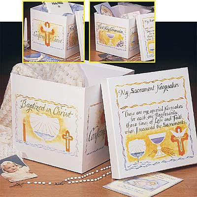 """Record and cherish the celebration of the sacraments in the life of your family. Honors the sacraments of baptism, first holy communion and confirmation.  Keep photos, jewelry and other mementos inside.  Sturdy, glossed, heavy paperboard and features the beautiful calligraphy of David Mekelburg .  10"""" x 10"""" x 9"""""""