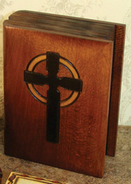 "Handmade 5"" Wood Keepsake ""Bible"" Box with cross from Poland,  Box measures 5"" x 3.75. Beautifully etched in colored wood. Interior of boxes is lined with balsa wood.  Also available is a Cross Box - 2.75 x 2.75"" (Item 37851), or Chalice Box - 5"" x 3.75"" (Item 37856)."