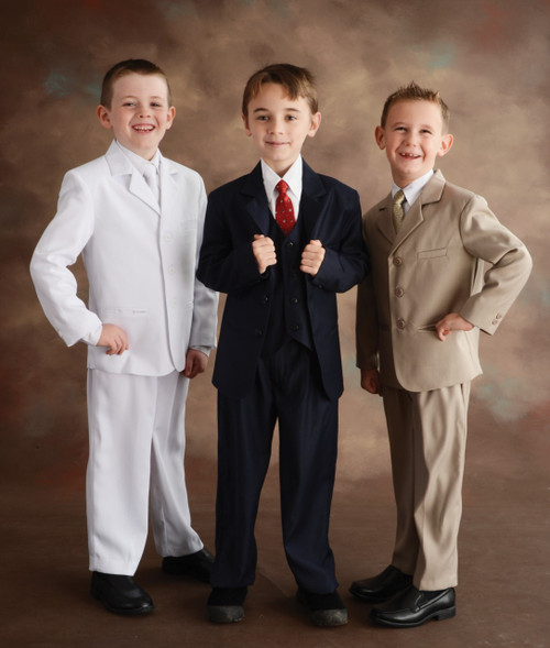 These high quality five piece Communion suits are an incredible buy!  Set includes jacket, pants, vest, dress shirt and adjustable tie. Regular Sizes available in colors: Navy, Tan, Black and White.   Tan is NOT available in Husky sizes. See sizing chart on product description page.