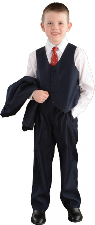"""These high quality five piece Communion suits are an incredible buy!  Set includes jacket, pants, vest, dress shirt and adjustable tie. Regular Sizes available in colors: Navy, Tan, Black and White.   Tan is NOT available in Husky sizes. How to measure: Chest is measured 1"""" below the underarm. Outseam is measured from the waist to the ankle. Sleeve is measured from the shoulder to the wrist. Shoulder is measured shoulder to shoulder straight across the back. See sizing chart on product description page."""