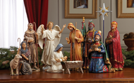 "11 Piece Nativity Set 10.25""Hh (tallest piece) Star measures 12.5""H. Beautiful figures with intricate detail and dramatic, life - like faces that capture the Christmas story. Set includes the Holy Family, the Three Kings, an Angel, a Shepherd holding a Sheep and another Sheep  Each set comes with chest filled with real 23K gold and pure, authentic, frankincense & myrrh from the same regions  as the gifts"