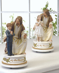 "7.25""H x  3.75""W x 3.75""D ~ Musical Jesus and Boy/Girl Child Figurines that plays ""The Lord's Prayer"". Gift Boxed"