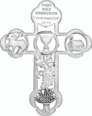 First Holy Communion Cross with Bread of Life Message