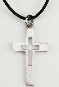 "Boy's Pewter 1 1/4"" Cross Pendant on a 18"" Black Leather Cord. Adjustable to 20"""