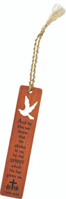 "5"" Wooden Bookmark with Holy Spirit Dove cutout and laser cut Scripture Verse ~ 1 John 3:24"