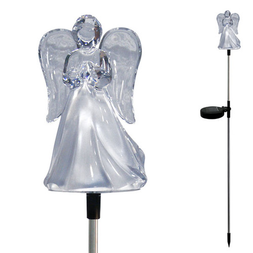 """4"""" x 3"""" x 34""""H Acrylic LED lit Angel with metal stake. Charges during the day and illuminates at night. Ideal for garden landscapes, yards, porches, balconies, pathways, churches, cemeteries or memorial sites. Easy to install, no wiring required."""