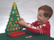 """Fun for all ages, this magnetic Countdown to Christmas Advent Calendar is the perfect way to prepare and get ready for Christmas day! The set includes 24 unique magnetic ornaments plus a shining star for Christmas day--all of which fit neatly in the attached box at the base of the tree.  Kids can hang tree ornaments every day as they count down for the days leading up to Christmas. They'll also love to switch, move, and rearrange the pieces to customize their very own tree countless times! Dimensions are 12"""" X 16.5"""".  New This Year... the Baby Jesus and Merry Christmas pieces are include!"""