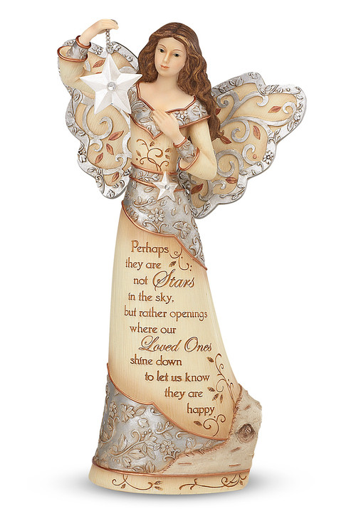 """9"""" Angel Holding Star. """"Perhaps they are not stars in the sky, but rather openings where our Loved Ones shine down to let us know they are happy."""""""