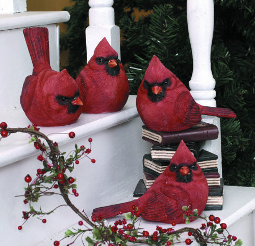 "NEW LARGER SIZE!!! Red Cardinal Figurines. Each Sold Separately. 5"" H x 4"" W x 3.5 "" D"