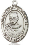"""Patron Saint against Drug Addiction. Silver Filled St. Maximilian Kolbe Pendant on a 24 inch Stainless Silver Heavy Curb Chain. Measures 1"""" x 3/4""""."""