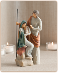 """A Child is Born ~ An intimate rendering of the holy family, measuring 7.5"""" tall.  This one-piece sculpture is ideal for those with limited display space, or who wish to display a nativity year-round."""