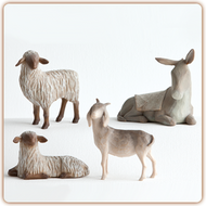 Giving Warmth and Protection ~ This four-piece set of animals was designed to specifically accompany the Willow Tree holy family figurine.  Their heads and ears express watchful attentivness and great personality. The tallest figure stands 3 inches tall.