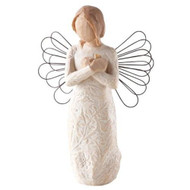 Memories....Hold each one safely in your heart. Willow Tree brings a meaningful line of angel figurines. Each of these Angels express the importance of love, friendship, and memories. With its sculpted appearance and charming gestures,the Angel of Remembrance is a creative reminder of memories.  She stands 5.5 inches tall.