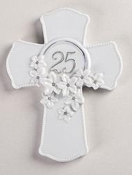 25th Wedding Anniversary Love in Bloom Porcelain Wall Cross