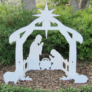 """Daytime View of the Holy Night Outdoor Nativity Silhouette. Add the True Meaning Of Christmas to your Holiday yard display Assembled Size: 46""""W x 50""""H x 22"""" D"""