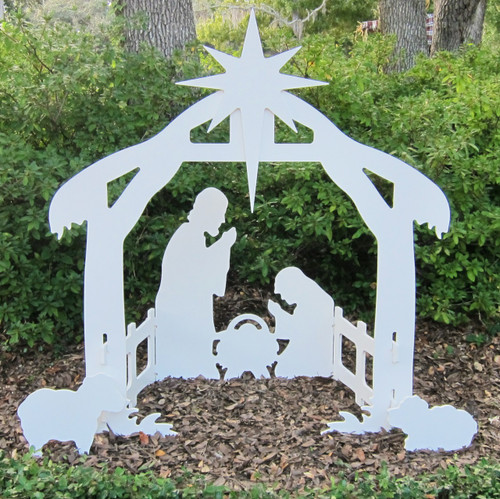 "Holy Night Outdoor Nativity Silhouette. Decorate your yard, business or church with this waterproof 50"" Outdoor Nativity Set-Stable and Holy Family. Made from high quality marine grade plastics, that will not fade, warp, rot or de-laminate !! While these sets do not require painting or maintenance, you can paint the nativity scene to your desired color.  Entire set can break down to store in compact box or area 43"" x 29"" x 2"". Staking kit (included) allows set to stand up to any inclement weather.  MADE IN USA"
