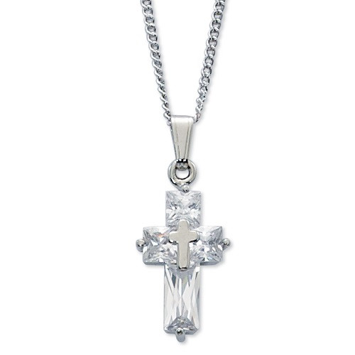 "Crystal Cross Pendant with 16"" rhodium plated chain features a unique silver color cross in the center. Makes a beautiful gift for First Communion."
