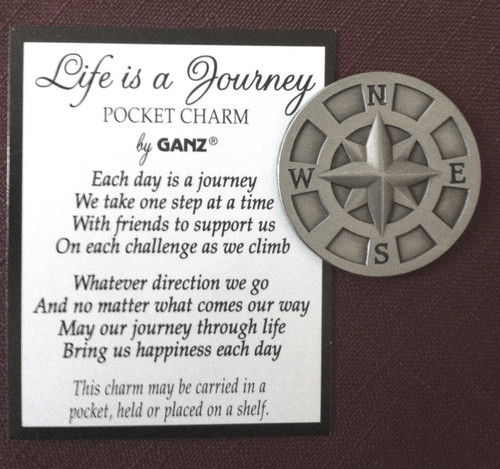 "1 1/4"" Pewter ""Life is a Journey"" Compass Pocket Token"