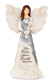 Standing Angel Holding a Cross Figurine, With God All Things Are Possible