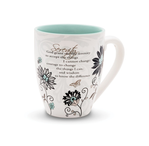 """From the Mark My Words Collection comes this 4.75"""" ~ 17 ounce ceramic mug. Mug has the Serenity Prayer on front. """"God grant me the serenity to accept the things I cannot change, courage to change the things I can, and wisdom to know the difference."""""""