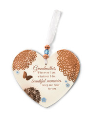 "3.5"" x 4"" Heart-Shaped Ornament. Made of a hard resin material. Ornament says ""Grandmother, Wherever I go, whatever I do, beautiful memories keep me near to you"""