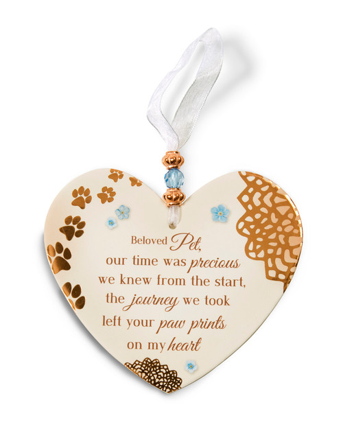 """3.5"""" x 4"""" Heart-Shaped Ornament. """"Beloved Pet, our time was precious we knew from the start, the journey we took left your paw prints on my heart"""""""