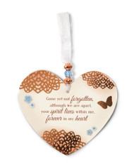 "3.5"" x 4"" Heart-Shaped Ornament. ""Gone yet not forgotten, although we are apart, your spirit lives within me, forever in my heart"""
