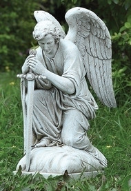 "Garden Collection ~ Male Angel Kneeling. Angel Statue Kneeling. 13.25""H 6""W  x  8.5""D. Resin /Stone Mix"
