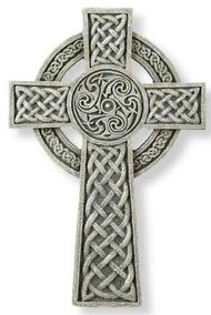"9.5"" Celtic Wall Cross. Resin/Stone Mix. Dimensions: 9.5""H x 6.25""W x 0.5""D"