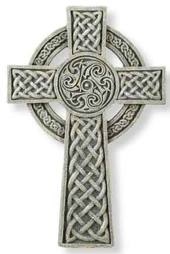 "9.5"" Celtic Wall Cross. Resin/Stone Mix. Dimensions: 9.5""H x 6.25""W x 0.5""D"