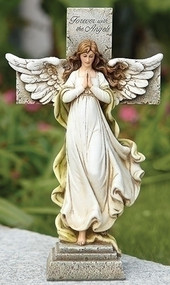 "12"" Memorial Angel and Cross Statue. Statue is made of a Resin Stone Mix.  Actual dimensions: 11.75""H x 7""W x 3.25"""