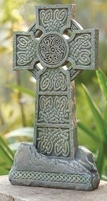 "Celtic Garden Statuary with rough stone look.Dimensions: 16.25""H 8.5""W 3.5""D Stone Resin Mix."