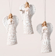 """Paper Cut Look"" Angel Ornaments. Resin Material 5.31""H x 2.17""W x 2.76""L. Choose: Angel Holding Snowflake, Angel Holding Dove, or Angel Praying"