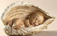 "Sleeping Baby in Wings. Resin/Stone Mix. 8.25""Width 4.25"" Height 4.25"" Depth. ""Heavenly angels sent from above, keep you from harm, wrap you in love""."