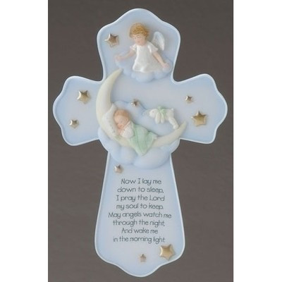 "7""Angel Wall Cross. Materials: Resin/Stone Mix. Dimensions: 7.25""H X 4.8""W"