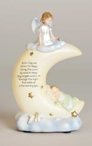 """8""""H x 5""""L Baby's Sweet Dreams Night Light.  angel on a moon. Made out of a resin stone mix. Printed on the moon:  """"Now I lay me down to sleep, I pray the Lord my soul to keep, may angels watch me through the night and wake me in the morning light."""""""